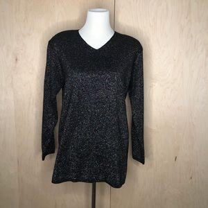 Karen Scott Rainbow Black Sweater